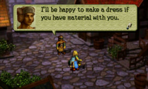 Screenshot of Ogre Battle 64: A dressmaker says he will make a dress for you if you have the materials.