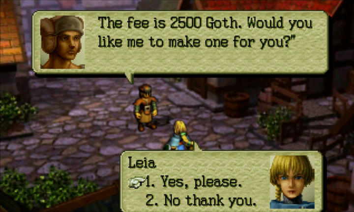 Screenshot of Ogre Battle 64: A dressmaker says his fee is 2500 Goth and asks if the player wants to purchase a dress.