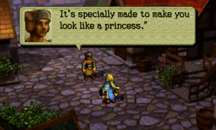 Screenshot of Ogre Battle 64: A dressmaker says he made the dress to make the wearer look like a princess.