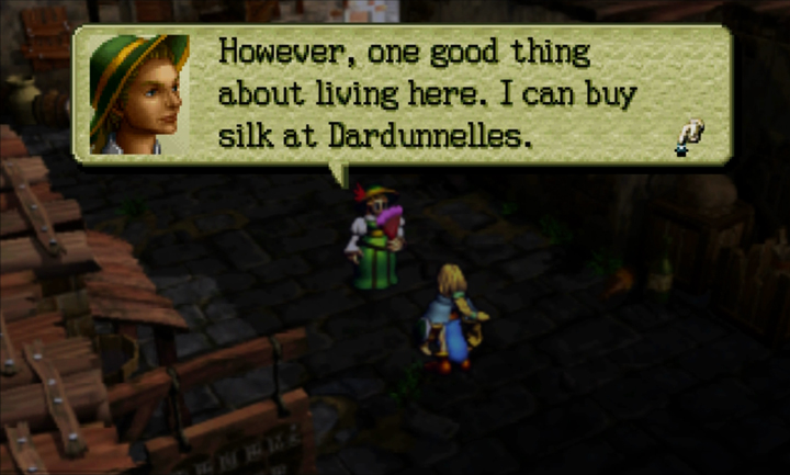 Screenshot of Ogre Battle 64: A noblewoman explains that silk can be purchased in Dardunnelles.
