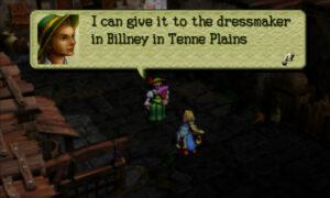 Screenshot of Ogre Battle 64: A noblewoman mentions a dressmaker that lives in Billney.