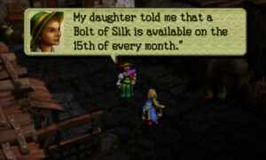 Screenshot of Ogre Battle 64: A noblewoman explains that a Bolt of Silk can be purchased on the 15th of every month.